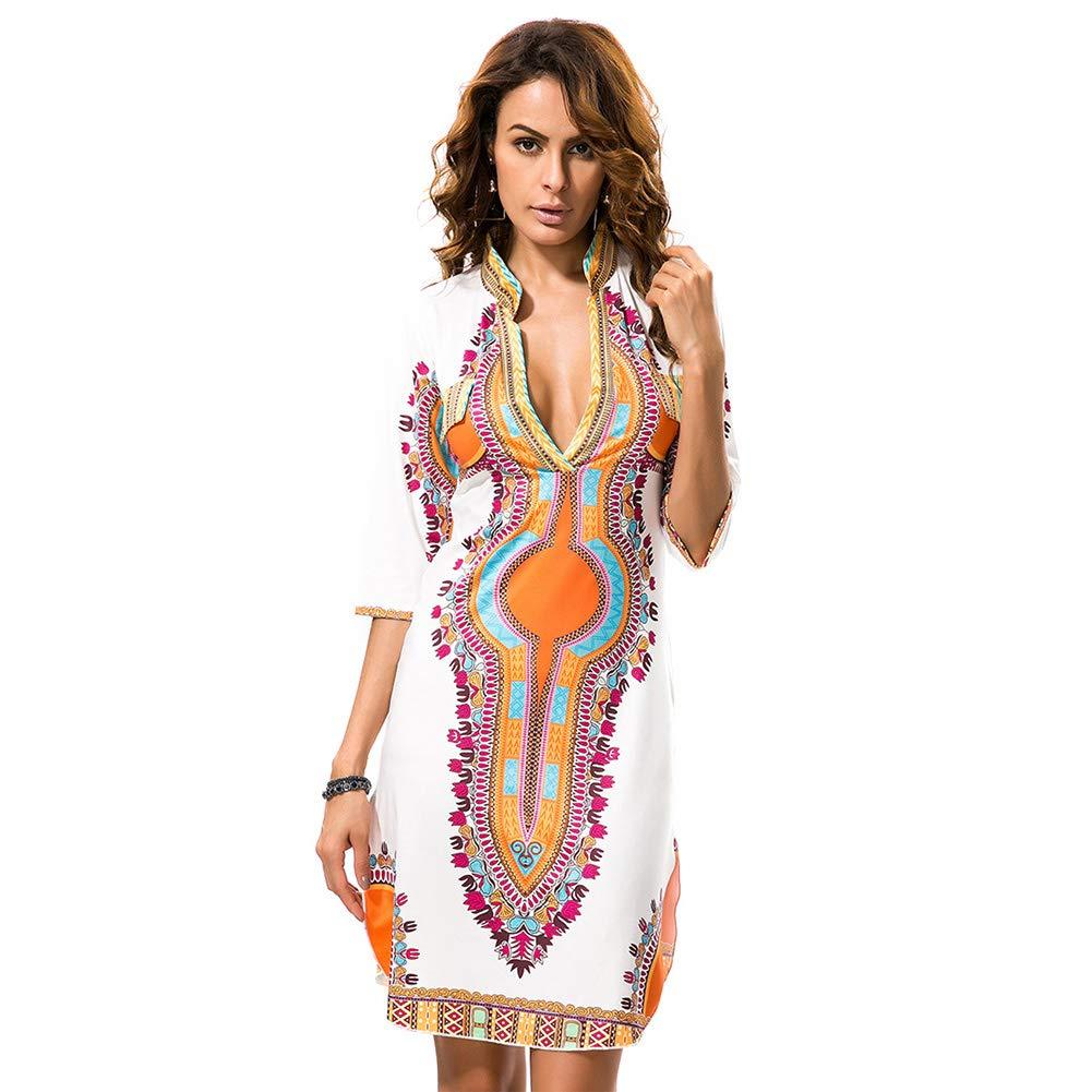 KUREAS V Neck Half Sleeves Dashiki Print African Bodycon Dress Women Casual Mini Dress