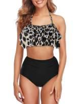Mycoco Women's High Waist Bikini Tassel Flounce Two Piece Swimsuits Flowy Bathing Suit