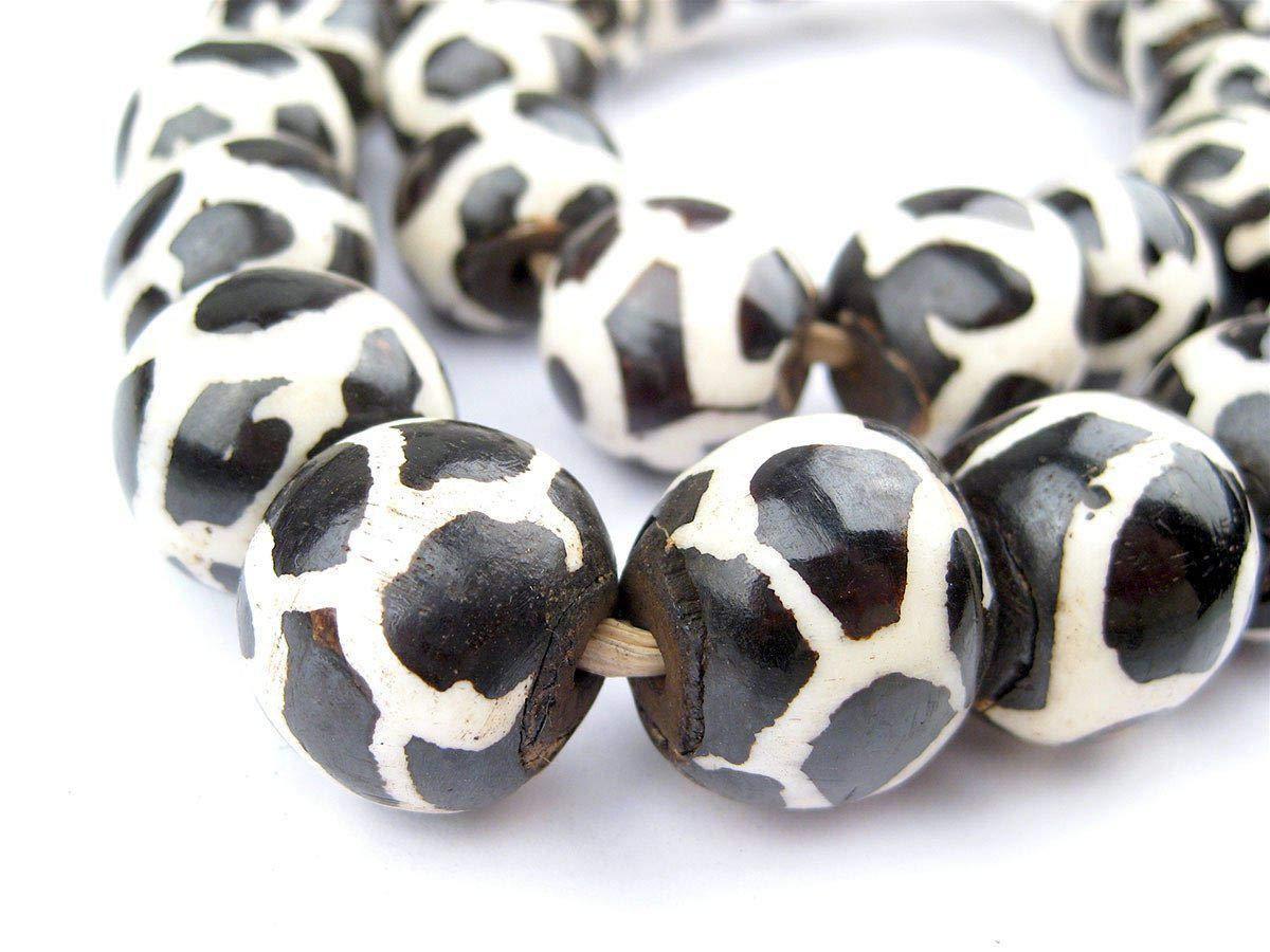 Batik Bone Beads - Full Strand of Fair Trade African Beads - The Bead Chest (Sphere, Giraffe Design)