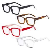 Eyekepper 4 Pack Ladies Reading Glasses - Oversized Square Design Readers for Women +3.50