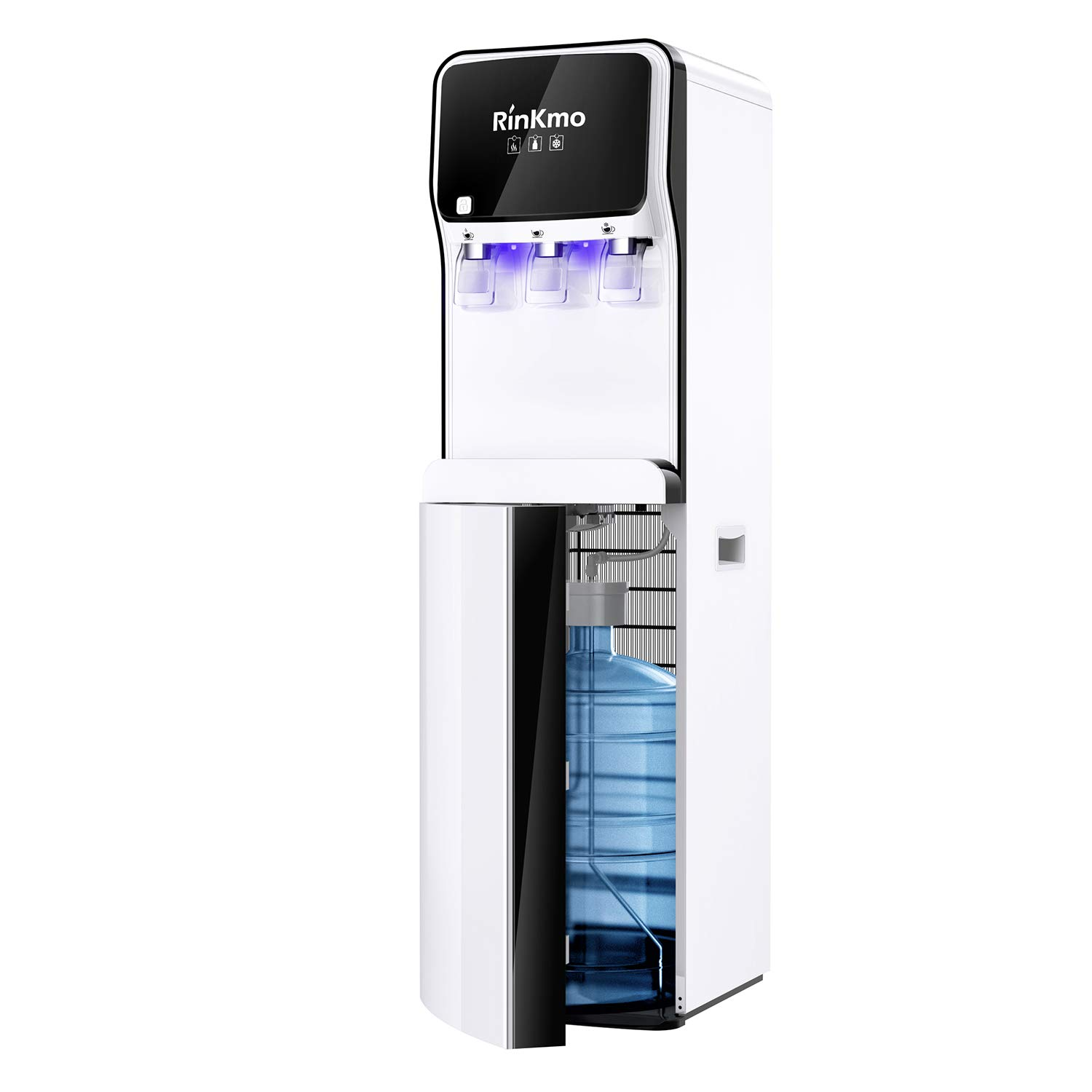 Rinkmo Water Dispenser,Bottom Load Water Cooler with Self Cleaning Function for 3-5 Gallon Bottle,Hot Room Cold 3 Temperatures,Durable Steel Frame,Child Safety Lock,Remvable Drip Tray for Home Office