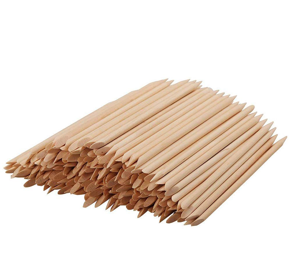 Rocutus 300pcs Nail Art Wood Sticks Cleaning Nail Polish Cuticle Pusher Remover Manicure Tools for Women (300 Pieces)