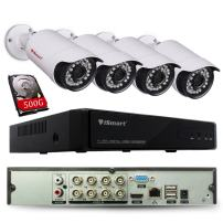 iSmart 8 Channel Lite 1080N 5-in-1 Hybrid DVR Security System (AHD TVI CVI NVR with 4 720p Outdoor Bullet Camera), Night Vision 80ft, Smartphone Remote Viewing with 500GB HDD