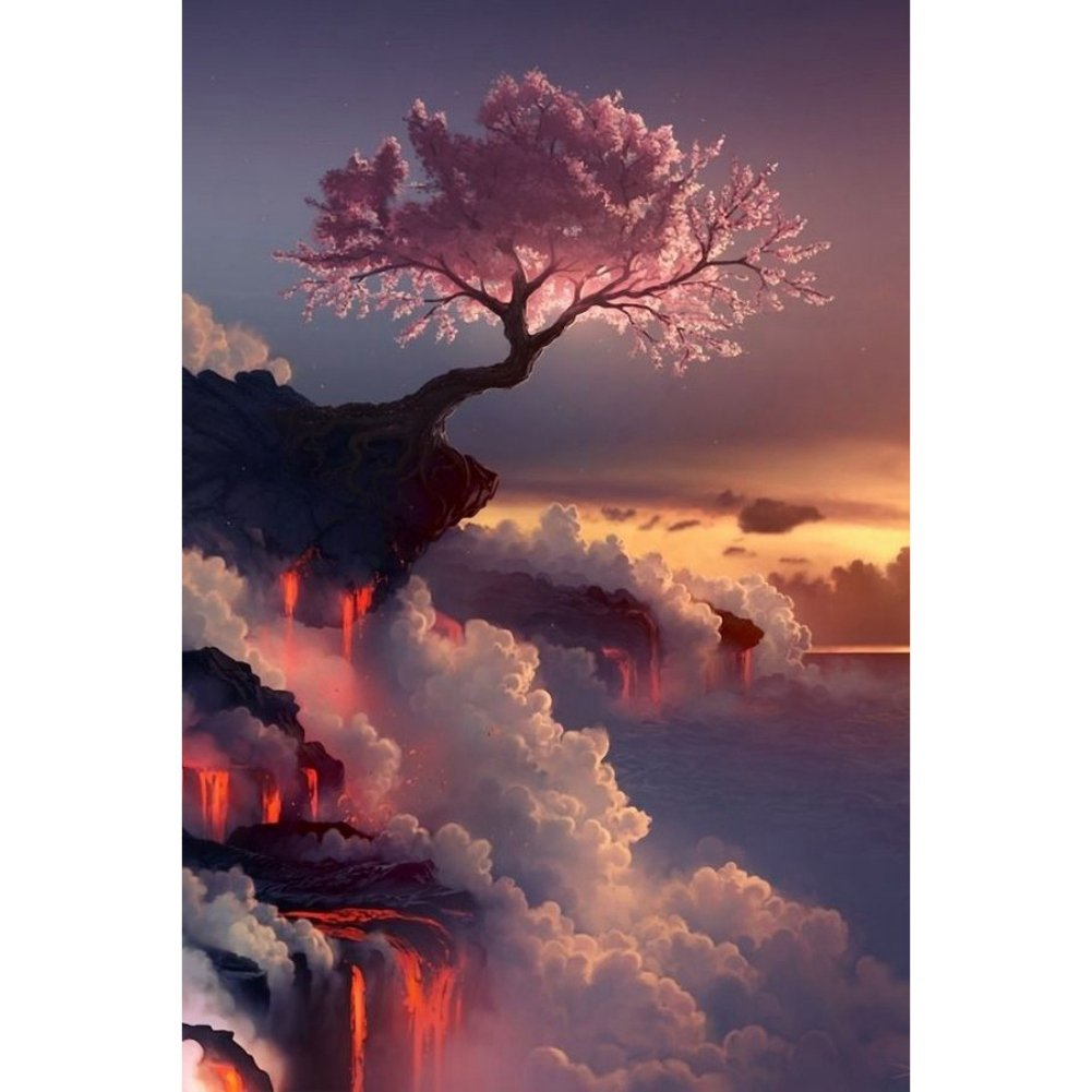 Adarl DIY Painting Paint by Numbers Kit for Adult, Cloud Flower Tree with Brushes Paint for Adults Painting on Canvas