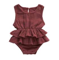 Faithtur Baby Girls Romper Dress Breathable Sleeveless Ruffle Bodysuit Summer Outfit Toddler Girl Clothes (0-6 Months, Brownish Red)