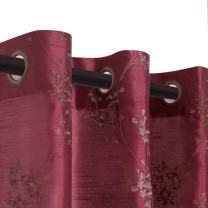 jinchan Faux Silk Floral Embroidered Grommet Top Curtains for Bedroom Embroidery Curtain for Living Room 84 inches Long, 2 Panels, Burgundy Red