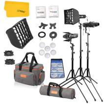 Godox S30-D 3-Light Focusing Spotlight Kit for Photography Lighting - Light Stands, Softbox,Barn Doors, Color Filter, GOBO Set, Carrying Case Accessory Kits