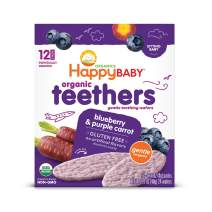 Happy Baby Gentle Teethers Organic Teething Wafers Blueberry Purple Carrot, Soothing Rice Cookies for Teething Babies Dissolves Easily, Gluten-Free,12 Count, Pack of 6