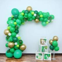 Balloon Arch Garland Kit,155PCS 12in 18in Green Wild Theme Party Balloons with 10PCS Artificial Leaves&4PCS Balloon Decorating Kit for Jungle Safari Baby Shower Animal Birthday Party Decorations
