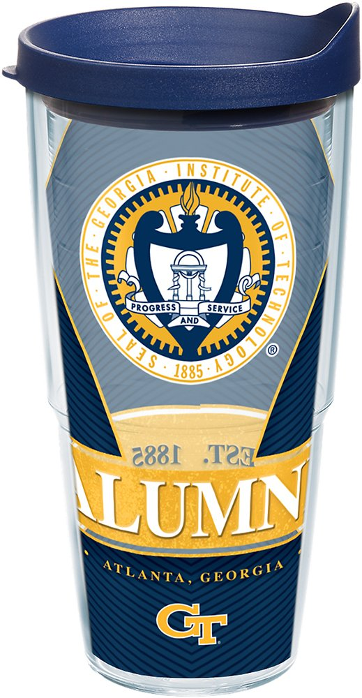 Tervis 1222750 Georgia Tech Yellow Jackets Alumni Tumbler with Wrap and Navy Lid, 24 oz - Tritan, Clear