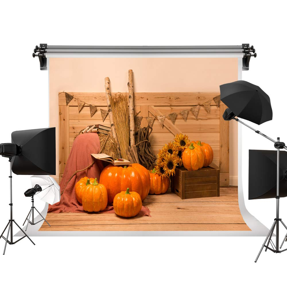 Kate 7x5ft/2.2m(W) x1.5m(H) Thanksgiving Backdrop Barn Wood Backdrop Pumpkin Haystack Photography Studio Prop