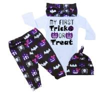 RCPATERN My First Halloween Baby Outfits Baby Girl Clothes Funny Print Long Sleeve Romper Pants with Hat and Headband