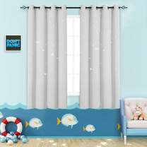 Nursery Blackout Curtains Kids Room Darkening Window Curtains for Bedroom 63 inches Long Twinkle Star White Draperies for Living Room Grommet Top Thermal Insulated Window Treatment Set 2 Panels