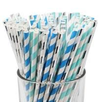 Just Artifacts Premium Biodegradable 100pcs Decorative Paper Straws (Color: Baby Boy)