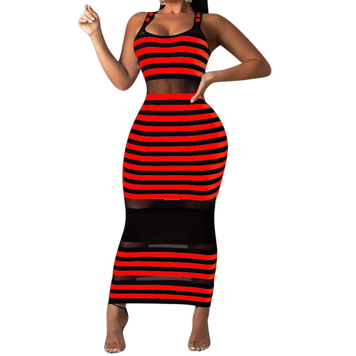 Womens Tank Bodycon Dresses Sexy - Summer Sleeveless Stripe Mesh Patchwork Date Night Sexy Club Long Maxi Dress Red 2X-Large