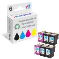HOTCOLOR Remanufactured Ink Cartridge Replacement for HP 664XL F6V30AB F6V31AB Work for DeskJet 1115 2136 3636 3836 4536 4676 Printer (4 Black 2 Color, 6-Pack)