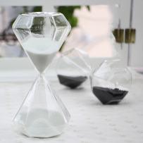 Creative Romantic Colorful Fashion Diamond Shape Glass Hourglass Sandglass Timer Home Desk Decor Kithchen Cooking Countdown Use Xmas Birthday Gift(5 Minutes White)