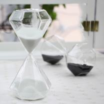 Creative Romantic Colorful Fashion Diamond Shape Glass Hourglass Sandglass Timer Home Desk Decor Kithchen Cooking Countdown Use Xmas Birthday Gift(5 Minutes White)
