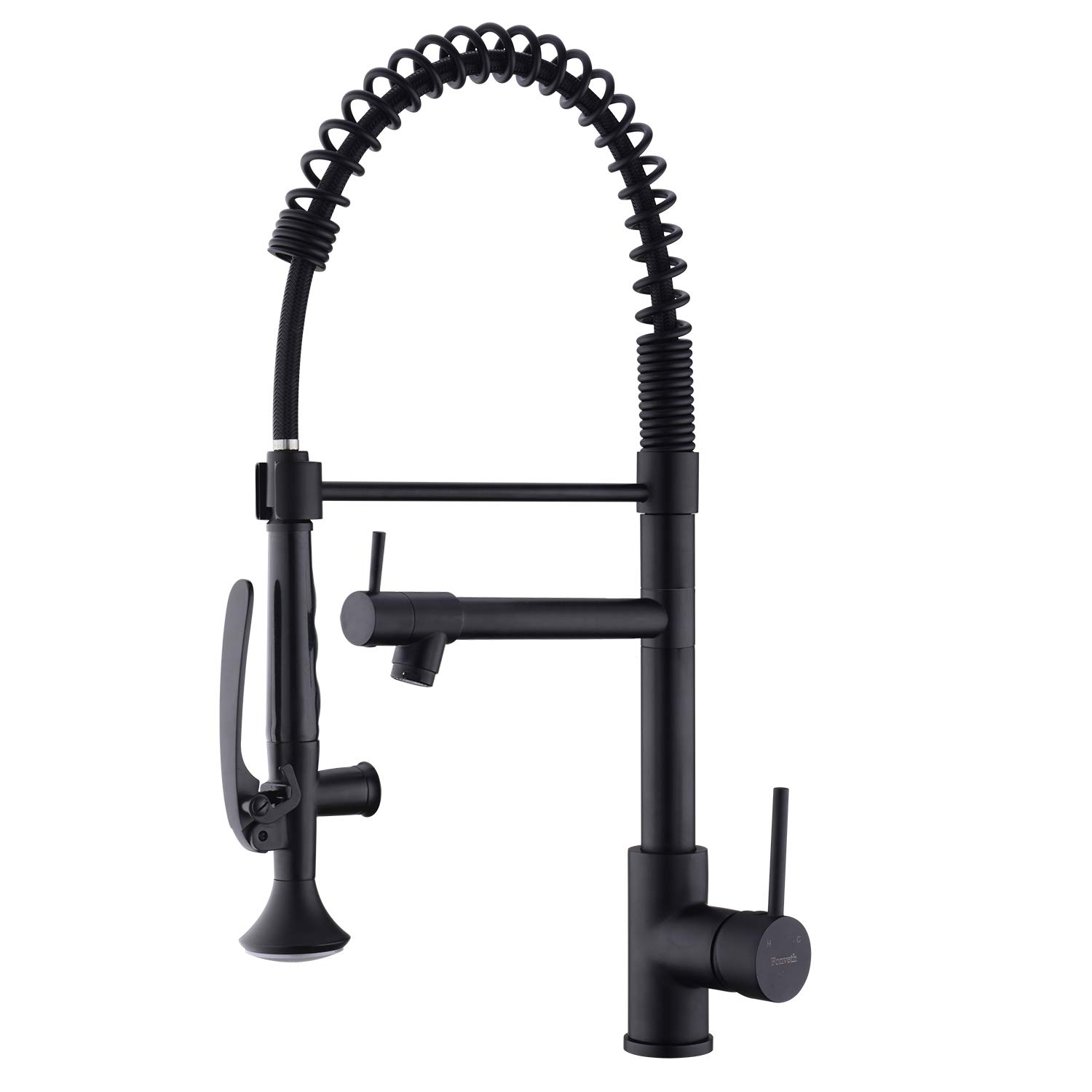 Fonveth Commercial Kitchen Faucet with Pull Down Sprayer, Matte Black Single Handle Mulit Function Kitchen Faucet, Pre Rinse High Arc Stainless Steel Kitchen Sink Faucet