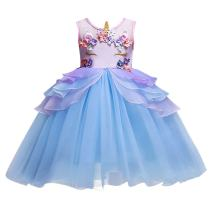 Girls Kids Flower Unicorn Birthday Outfits Cosplay Fancy Costume Princess Dress up Lace Tulle Pageant Party Dance Gown
