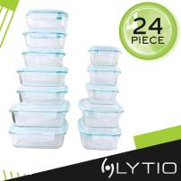Lytio Glass Food Storage Containers with Locking, Leakproof Lids, 12 Sets (12 Lids 12 Containers) Airtight Meal Prep Bowls, Lunch Portion Control Dishes, Odor, Stain Resistant