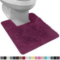 Gorilla Grip Original Shaggy Chenille Square U-Shape Contoured Mat for Base of Toilet, 22.5x19.5 Size, Machine Wash and Dry, Soft Plush Absorbent Contour Carpet Mats for Bathroom Toilets, Eggplant
