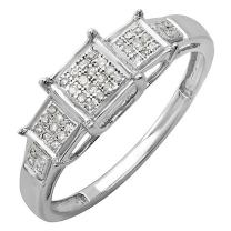 Dazzlingrock Collection 0.13 Carat (ctw) Round White Diamond Ladies Micro Pave Bridal Engagement Ring, Sterling Silver