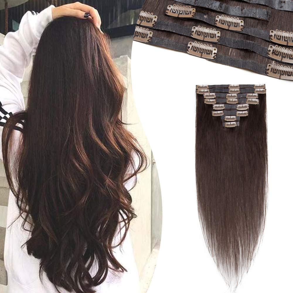 Hairro Seamless Clip in Hair Extensions Real Human Hair with PU Tape Weft for Women 16 Inch Long Dark Brown Tape Weft Clip on Human Hairpieces Thin 8 Pcs 18 Clips #2