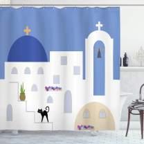 "Lunarable Aegean Blue Shower Curtain, Santorini Island Greek Doodle with Building and Cat Silhouette, Cloth Fabric Bathroom Decor Set with Hooks, 75"" Long, Multicolor"