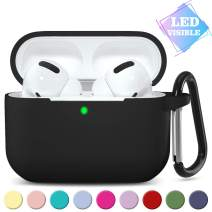GEAK Case for AirPods Pro [Front LED Visible], Shockproof Silicone Protective Cover with Keychain Compatible for AirPod Pro 2019 Charging Case, Black
