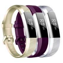 Baaletc Replacement Bands Compatible Fitbit Alta HR/Alta/Ace, Classic Accessories Band Sport Strap for Fitbit Alta HR Large Champagne Gold/Fuchsia/Silver 3pcs