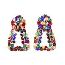 Sparkly Rhinestone Rectangle Geometric Drop Dangle Statement Earrings KELMALL COLLECTION