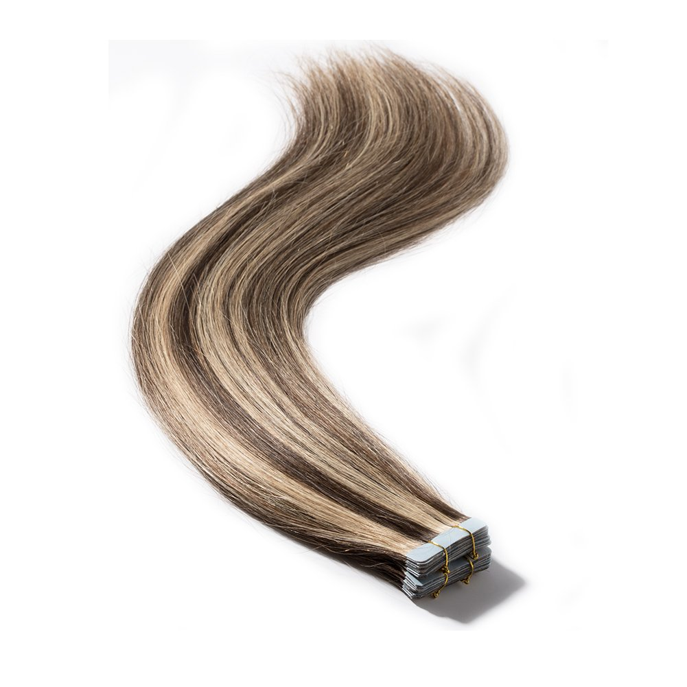 """Remy Tape in Hair Extensions 100g 40pcs12-24inch Double Side Tape Seamless Skin Weft Natural Human Hair Extensions Highlight 40 Pieces Balayage Color (16""""/16 inch,#4/27 Medium Brown mix Dark Blonde)"""