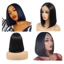 VOGSHION Hair Short Straight Bob Lace Front Wig Brazilian Virgin Human Hair Wigs Glueless Middle Part Lace Wigs Natural Color 150% Density Pre Plucked with Baby Hair (10 inch)