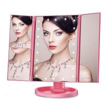 Makeup Mirror with Lights, 21 LED Vanity Mirror with 1x 2x 3x Magnification, Portable 180° Adjustable Rotation Trifold Mirror for Countertop Stand, Dual Power Supply, Touch Screen Switch - Rose Gold