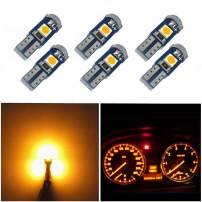 WLJH 6 Pack T5 LED Bulb Yellow 74 73 17 2721 Canbus Error Free 3-SMD 3030 LED Gauge Cluster Dashboard Indicator Light Bulbs,Plug and Play