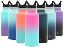 Simple Modern 17 Ounce Ascent Water Bottle with Straw Lid - Stainless Steel Hydro Thermos Tumbler - Double Wall Vacuum Insulated Small Reusable Metal Leakproof Ombre: Sorbet