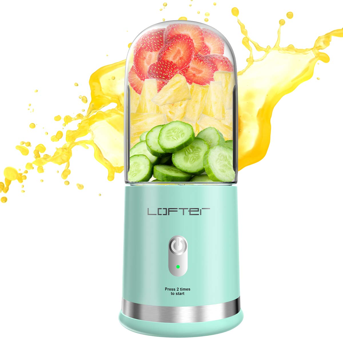 Portable Blender, LOFTer Juicer Cup - USB Blender with Six Blades in 3D, Mini Travel Blender for Fruits, Personal Blender with 4000 mAh Rechargeable Battery, Ice Tray, Green