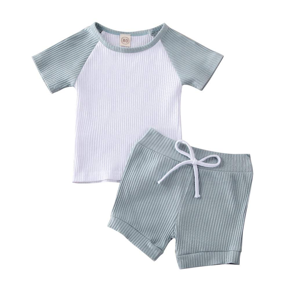 BabyBoyGirlRibbed Set Newborn Short Sleeve BodysuitTop Knit ShortsSummer Outfit BasicClothes