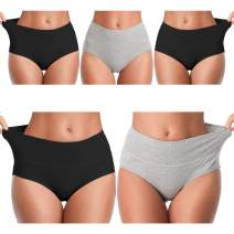 Womens Underwear,Cotton Mid Waist No Muffin Top Full Coverage Brief Ladies Panties Lingerie Undergarments for Women Multipack