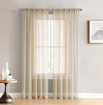 HLC.ME Antique Taupe Sheer Voile Window Treatment Rod Pocket Curtain Panels for Bedroom and Living Room (54 x 84 inches Long, Set of 2)