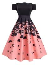 retro stage Women's 1950s Butterfly Vintage Dress Prom Swing Cocktail Party Dress Black Pink