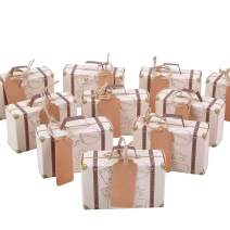 Wocuz 50pcs Retro Travel Suitcase Favor Boxes with Burlap Twine Vintage Kraft Paper with Tags for travel theme party wedding,engangement bridal shower baby shower birthday party decoration