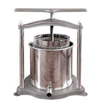 Fruit Wine Press, 5L/1.3Gal Stainless Steel & Iron Fruits Crusher with Filter Bag for Handmade Apple Cider Juice, Wine Making and Household Use