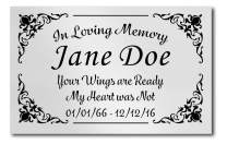 "2.5"" H x 4"" W, Elegant Engraved Brass Plaque, Memorial Name Plate, Black and Gold Color, Customize Message, Made in USA (Polish Silver Plate/Black Text)"