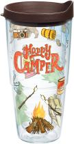 Tervis 1218222 Happy Camper Tumbler with Wrap and Brown Lid 24oz, Clear