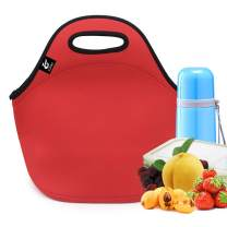 Neoprene Lunch Bag,LOVAC Thick Insulated Lunch Bag - Durable & Waterproof Lunch Tote With Zipper For Outdoor Travel Work School (Red)