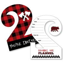 Big Dot of Happiness 2nd Birthday Lumberjack - Channel The Flannel - Shaped Fill-in Invitations - Buffalo Plaid Second Birthday Party Invitation Cards with Envelopes - Set of 12