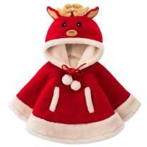 AOFITEE Kids Christmas Santa Cloak Cartoon Fleece Hoodie Cape with Reindeer Hat