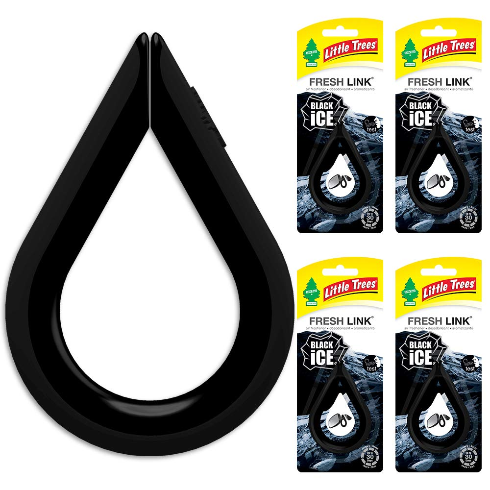 Little Trees Car Air Freshener | Fresh Link Provides a Long-Lasting Scent for Auto or Home CTK-52031-24-AMA| Clips Anywhere | Black Ice, 4-Pack